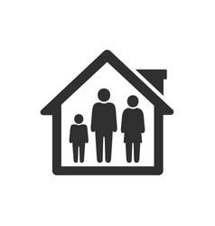 People quarantine icon stay in home with family vector