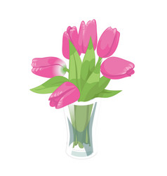 pink tulips spring bouquet in the glass vase on vector image