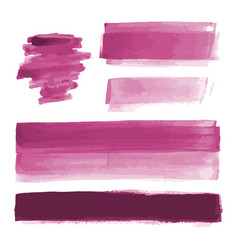 Pink watercolor shapes paint brush strokes vector