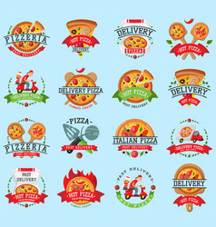 pizza italian restaurant logo badge icons vector image