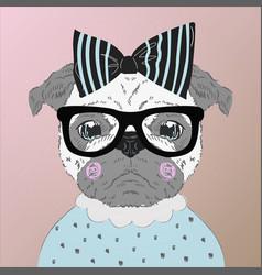 pug puppy dog cartoon vector image