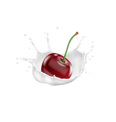 red cherry and milk splash 3d icon vector image