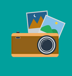 retro photo camera and photo frames flat design vector image