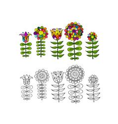 Scandinavian folk style flowers for your design vector