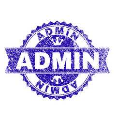 Scratched textured admin stamp seal with ribbon vector