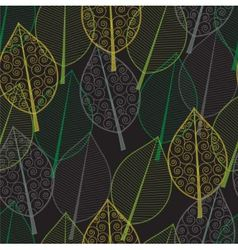 seamless pattern green and yellow leaves vector image