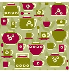 Seamless pattern on a tea theme vector