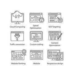 seo linear icons set vector image