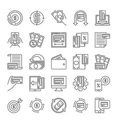 Set money minimal line icons - finance vector