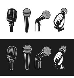 set monochrome microphones vector image