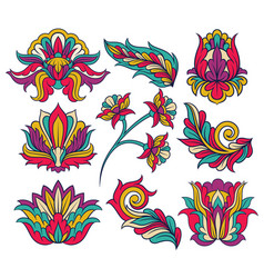 set of colorful indian patterns original vector image