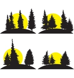 Set of different landscapes with rising sun vector