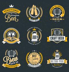 set retro vintage beer badges labels logos vector image