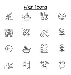set war related line icons contains such icons vector image