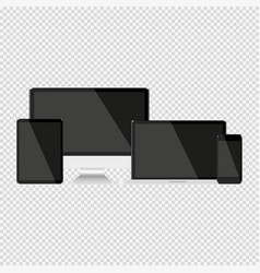 set with dark screens computer notebook tablet vector image