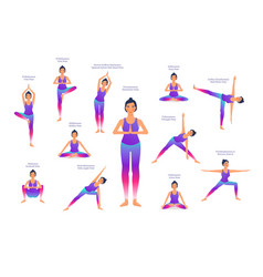 set woman in different yoga poses names vector image