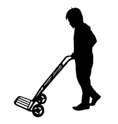 Silhouette of man with Hand Trolley vector image