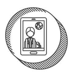 Smartphone with news journalist vector