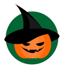 spooky halloween pumpkin in wizard hat background vector image