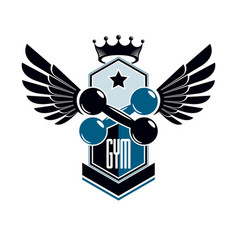 sport logo for weightlifting gym and fitness club vector image