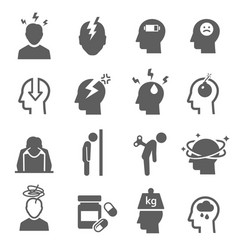 stress depression bold black silhouette icons set vector image