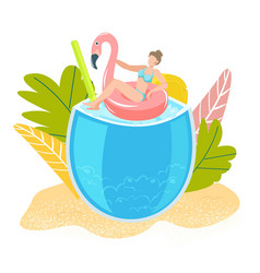 summer tropical vacation girl on sea swimming in vector image