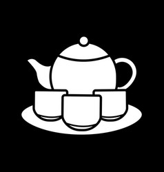 tea set dark mode glyph icon vector image