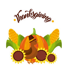 Thanksgiving poster decoration turkey pumpkin vector