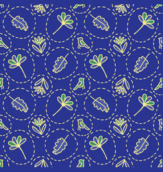 tiny floral birds dotty seamless pattern vector image