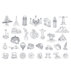 Travel tourist attraction icon set vector