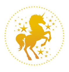 unicorn gold silhouette with stars vector image