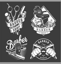 vintage barbershop badges vector image