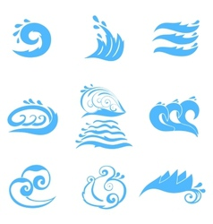 Wave symbols set for design isolated on white vector