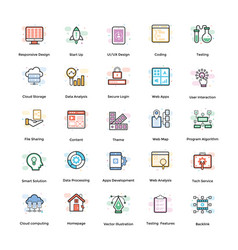 web design flat icons pack vector image