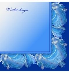 Winter frozen glass background blue wedding frame vector
