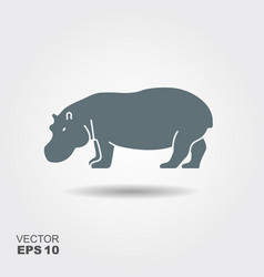 a silhouette of a hippopotamus vector image