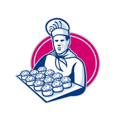 baker serving tray of pork meat pies retro vector image vector image