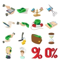 Bank icons set cartoon style vector image vector image