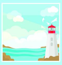 colorful ocean landscape template vector image