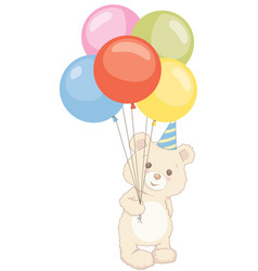cute teddy bear holding balloons with birthday hat vector image vector image