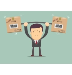 Delivery man Cartoon character with cartons box vector image