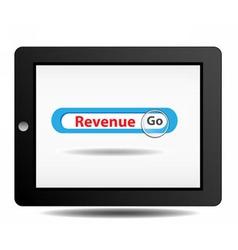 Revenue search on ipad vector image vector image