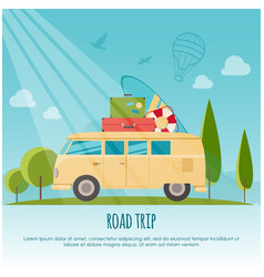 road trip surf camp concept banner flat style vector image vector image