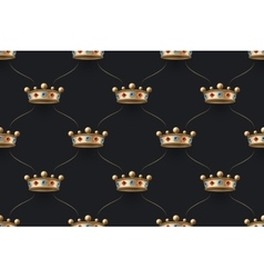 Seamless gold pattern with king crown with diamond vector image