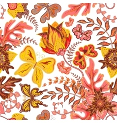 Seamless hand draw butterfly with floral pattern vector image vector image