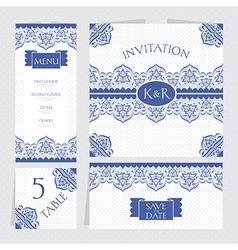 Set of retro wedding cards vector