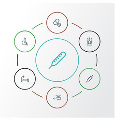 drug outline icons set collection of handicapped vector image vector image