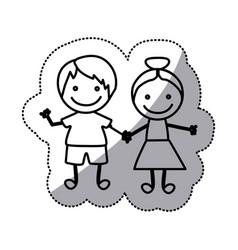 hand drawn sticker silhouette couple of children vector image