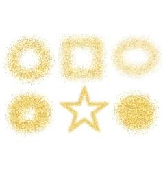 Set of six golden sand glitter effect good for vector image vector image