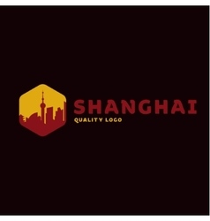Shanghai city the shadow China building sunset red vector image vector image
